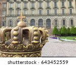 the crown on the fence of royal ... | Shutterstock . vector #643452559