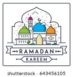 ramadan kareem with simple... | Shutterstock .eps vector #643456105
