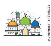 modern line art islamic mosque... | Shutterstock .eps vector #643456111