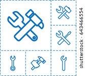 spanner icon. set of 6 spanner... | Shutterstock .eps vector #643466554