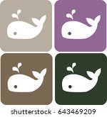 Whale Cartoon Flat Vector Icon...
