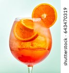 glass of aperol spritz cocktail ... | Shutterstock . vector #643470319
