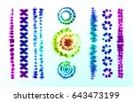 set of tie dye art brushes.... | Shutterstock .eps vector #643473199