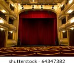 old theater stage and red... | Shutterstock . vector #64347382