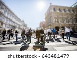 crowd of anonymous people... | Shutterstock . vector #643481479