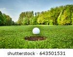 golf ball on lip of cup | Shutterstock . vector #643501531