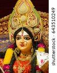 Small photo of hindu festival navratri, closeup of devi maa durga idol