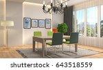 interior dining area. 3d... | Shutterstock . vector #643518559