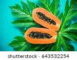 papaya fruit on wooden...   Shutterstock . vector #643532254