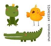 card with cute cartoon... | Shutterstock . vector #643536421