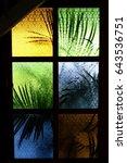 pattern colorful glass window ...   Shutterstock . vector #643536751