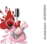 top view of pink  lilac nail...   Shutterstock . vector #643544041