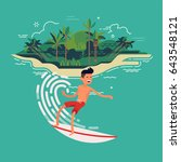 cool vector surfer character in ... | Shutterstock .eps vector #643548121