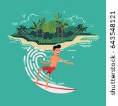 cool vector surfer character in ...   Shutterstock .eps vector #643548121