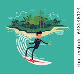 cool vector surfer character in ... | Shutterstock .eps vector #643548124
