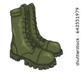 vector cartoon khaki army boots.... | Shutterstock .eps vector #643551979