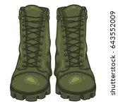 vector cartoon khaki army boots.... | Shutterstock .eps vector #643552009