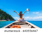 happy woman traveler in bikini... | Shutterstock . vector #643556467