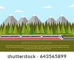 train on railway with forest of ... | Shutterstock .eps vector #643565899
