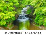 waterfall in the mountains   Shutterstock . vector #643576465