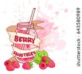 cocktail jar with a raspberry... | Shutterstock .eps vector #643580989