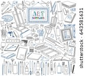 arts supplies doodle set.... | Shutterstock .eps vector #643581631