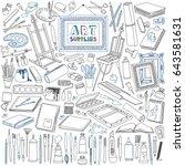 arts supplies doodle set.... | Shutterstock .eps vector #643581631