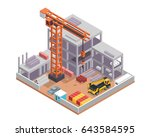 modern isometric construction... | Shutterstock .eps vector #643584595