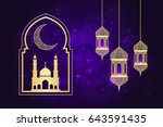 ramadan greeting card on violet ... | Shutterstock . vector #643591435