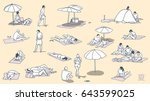 isolated characters relaxing... | Shutterstock .eps vector #643599025