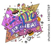 happy birthday typography... | Shutterstock .eps vector #643607569