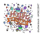 happy birthday typography... | Shutterstock .eps vector #643611847