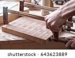 joiner fastens clamps on a... | Shutterstock . vector #643623889