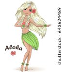 hand drawn beautiful cute hula... | Shutterstock .eps vector #643624489