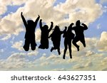 group of black silhouettes... | Shutterstock . vector #643627351