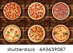 six different pizza set for... | Shutterstock . vector #643639087