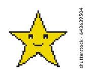 pixel star icon. 8 bit pixel...   Shutterstock .eps vector #643639504