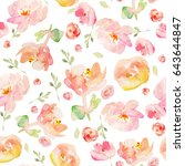cute tropical flower pattern... | Shutterstock . vector #643644847