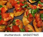 italian bruschetta recipe. step ... | Shutterstock . vector #643657465