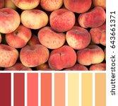 fresh donut peaches background... | Shutterstock . vector #643661371