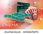 3d online cinema on color... | Shutterstock .eps vector #643665691