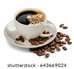 coffee cup and coffee beans on... | Shutterstock . vector #643669024