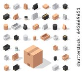different box vector isometric... | Shutterstock .eps vector #643669651