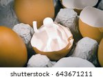 birth of man from an egg concept | Shutterstock . vector #643671211
