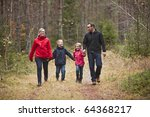 family walking in the woods | Shutterstock . vector #64368217