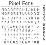 pixel square font  letters... | Shutterstock .eps vector #643682251