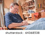 senior man sleeping in chair in ... | Shutterstock . vector #64368538