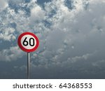 road sign speed limit sixty... | Shutterstock . vector #64368553