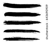 ink vector brush strokes set.... | Shutterstock .eps vector #643690909