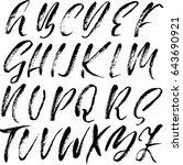 hand drawn dry brush font.... | Shutterstock .eps vector #643690921